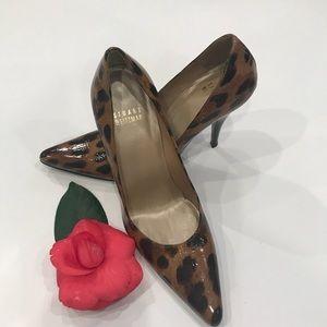 Stuart Weitzman Fever Patent Leather Leopard heels